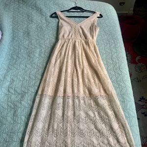 Long Cream Colored Lace Dress